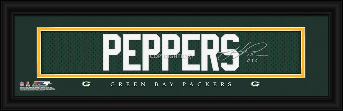 NFL - Green Bay Packers - Signature Jersey Nameplate - Julius Peppers - Framed Picture