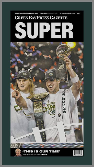 NFL - Green Bay Packers - Super Bowl 45 XLV - Rogers - Super Sm - Wood Mounted & Laminated Newspaper