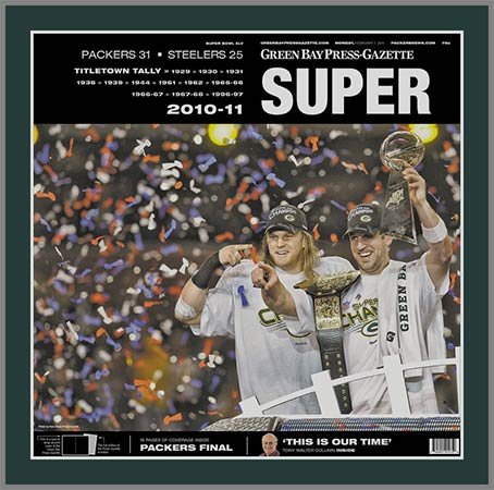 NFL - Green Bay Packers - Super Bowl 45 XLV - Rogers - Super Lg - Plaque Mounted & Laminated Newspaper