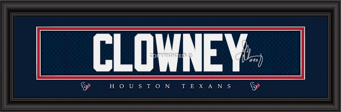 NFL - Houston Texans - Signature Jersey Nameplate - Jadaveon Clowney - Framed Picture