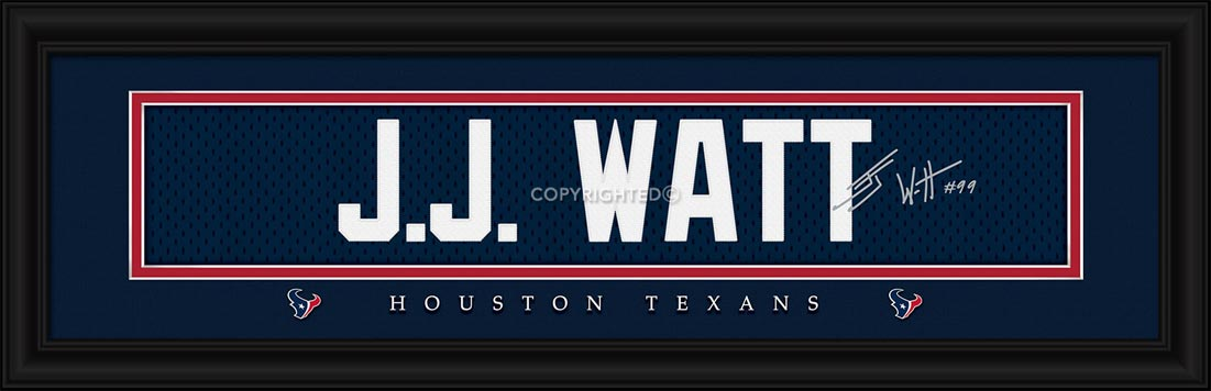 NFL - Houston Texans - Signature Jersey Nameplate - J.J. Watt - Framed Picture