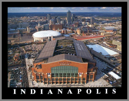 NFL - Indianapolis Colts - Lucas Oil Stadium Aerial - Sm - Wood Mounted & Laminated Print