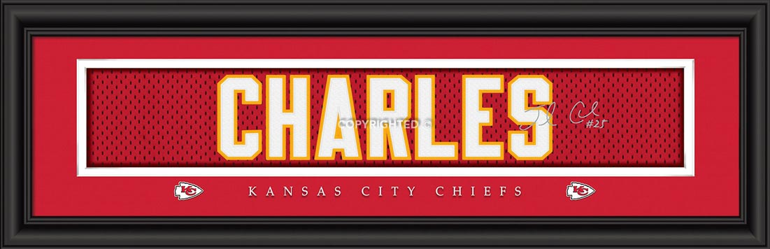 NFL - Kansas City Chiefs - Signature Jersey Nameplate - Jamaal Charles - Framed Picture