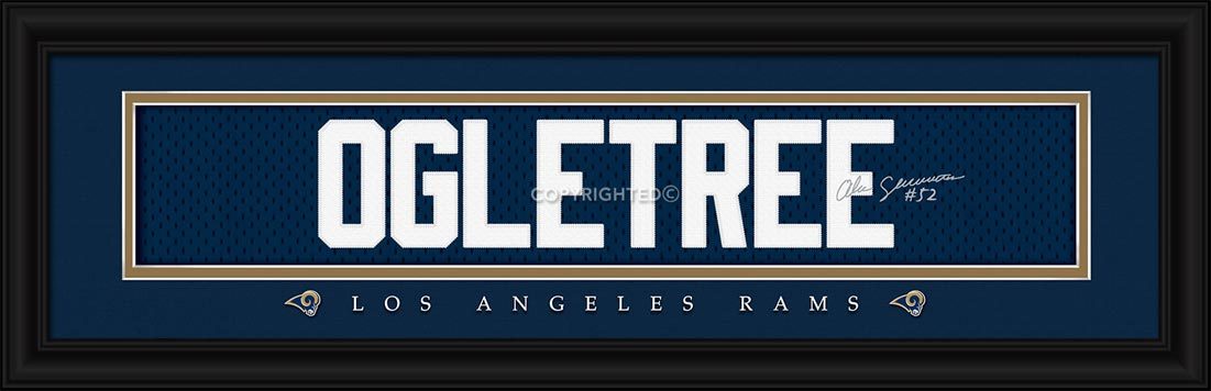 NFL - Los Angeles Rams - Signature Jersey Nameplate - Alec Ogletree - Framed Picture