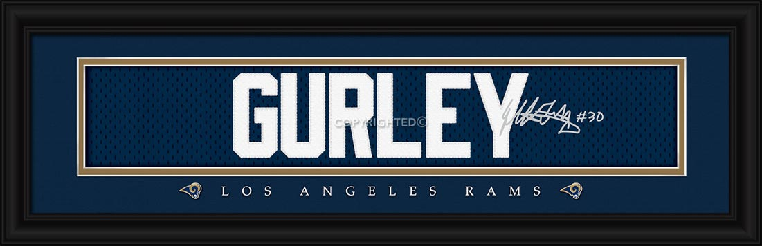 NFL - Los Angeles Rams - Signature Jersey Nameplate - Todd Gurley - Framed Picture