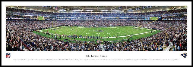 NFL - Los Angeles Rams - Edward Jones Dome - Plaque Mounted & Laminated Print