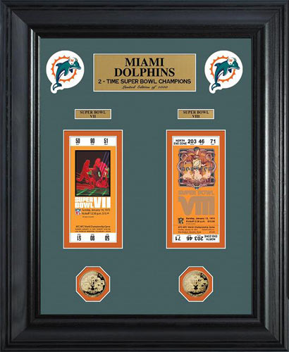 NFL - Miami Dolphins - Super Bowl 8 VIII - Tickets - Coins - Framed Picture