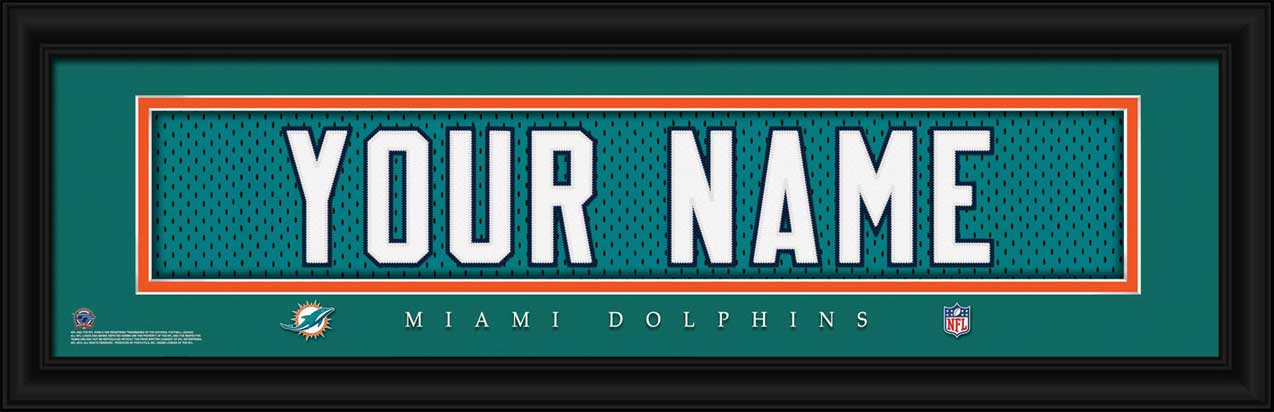 NFL - Miami Dolphins - Personalized Jersey Nameplate - Framed Picture