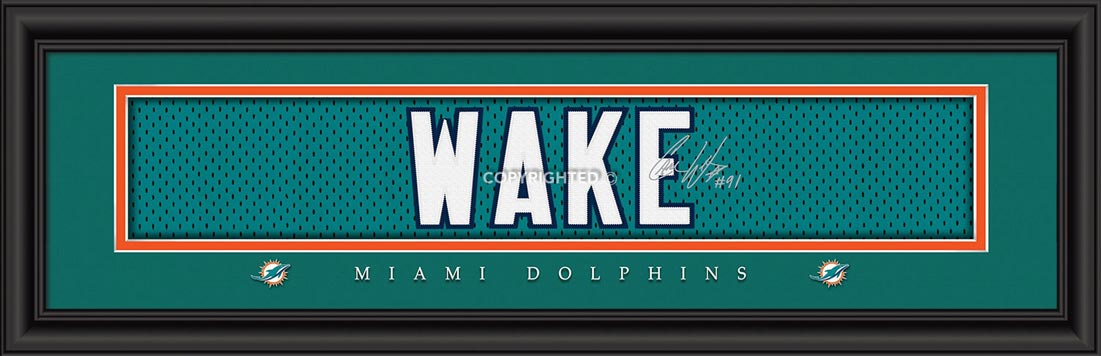 NFL - Miami Dolphins - Signature Jersey Nameplate - Cameron Wake - Framed Picture