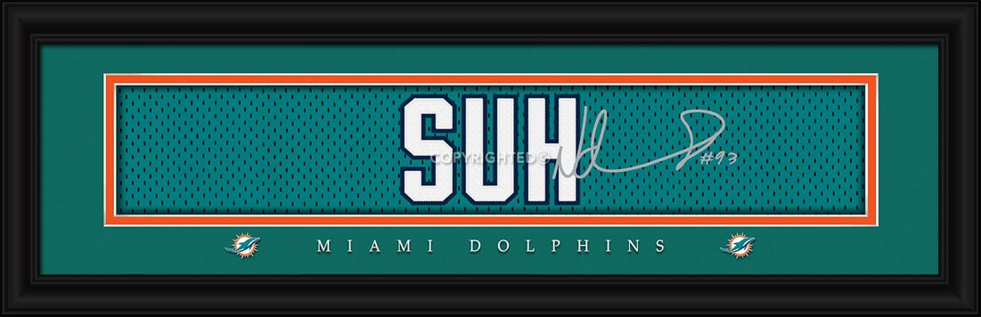 NFL - Miami Dolphins - Signature Jersey Nameplate - Ndamukong Suh - Framed Picture