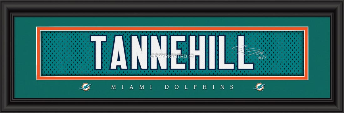 NFL - Miami Dolphins - Signature Jersey Nameplate - Ryan Tannehill - Framed Picture