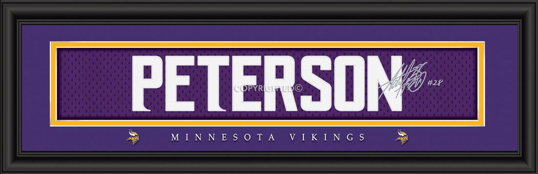 NFL - Minnesota Vikings - Signature Jersey Nameplate - Adrian Peterson - Framed Picture