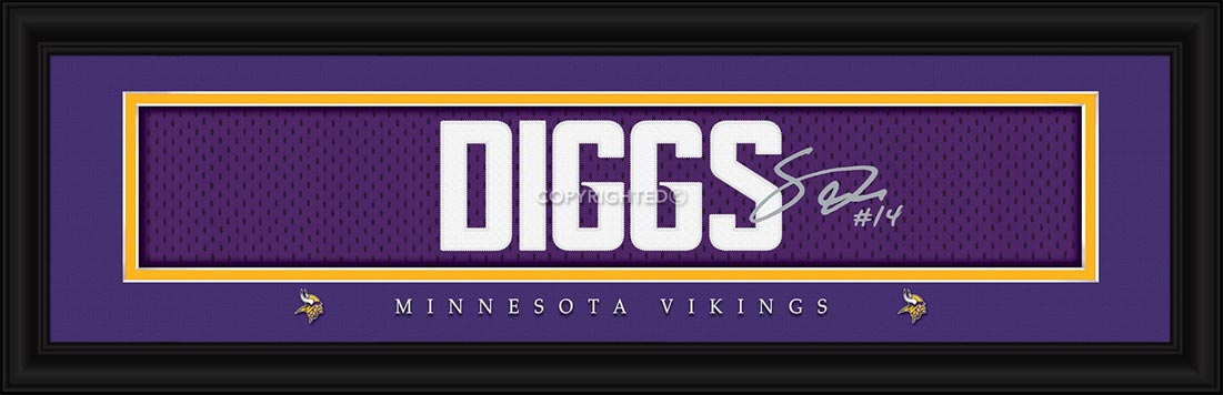 NFL - Minnesota Vikings - Signature Jersey Nameplate - Stefon Diggs - Framed Picture