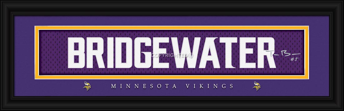 NFL - Minnesota Vikings - Signature Jersey Nameplate - Teddy Bridgewater - Framed Picture