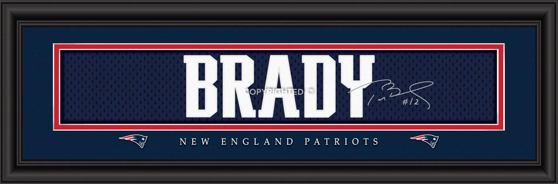 NFL - New England Patriots - Signature Jersey Nameplate - Tom Brady - Framed Picture