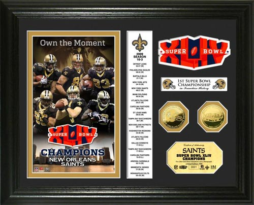 NFL - New Orleans Saints - Super Bowl 44 XLIV - Players - Stats - Framed Picture