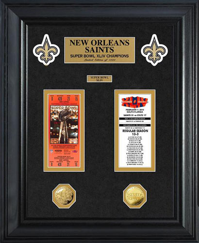 NFL - New Orleans Saints - Super Bowl 44 XLIV - Tickets - Coins - Framed Picture