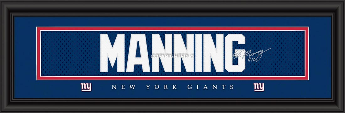 NFL - New York Giants - Signature Jersey Nameplate - Eli Manning - Framed Picture