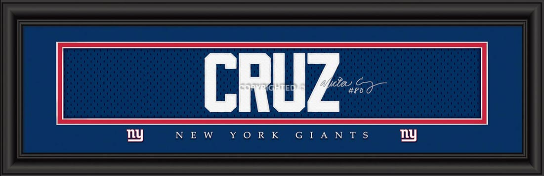 NFL - New York Giants - Signature Jersey Nameplate - Victor Cruz - Framed Picture