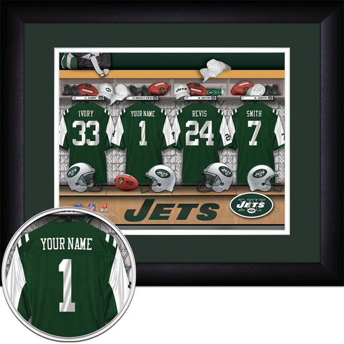 NFL - New York Jets - Personalized Locker Room - Framed Picture