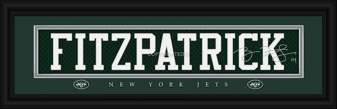 NFL - New York Jets - Signature Jersey Nameplate - Ryan Fitzpatrick - Framed Picture