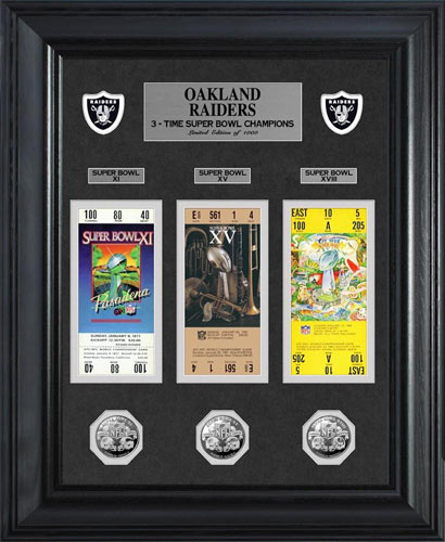 NFL - Oakland Raiders - Super Bowl 18 XVIII - Tickets - Coins - Framed Picture