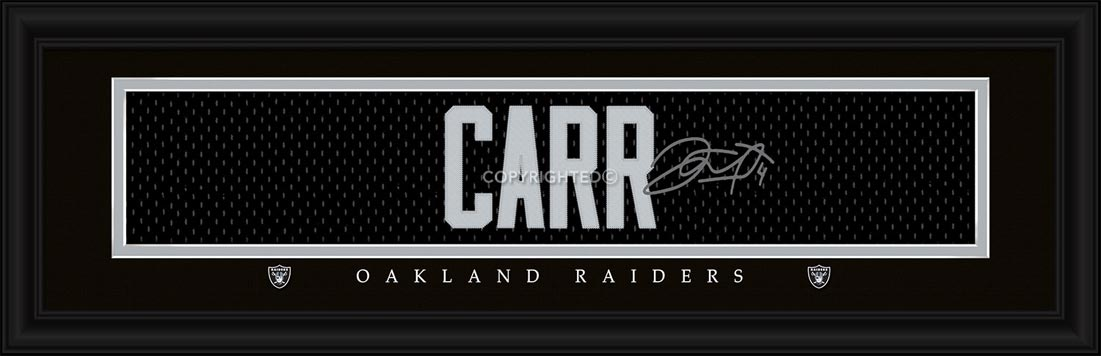 NFL - Oakland Raiders - Signature Jersey Nameplate - Derek Carr - Framed Picture