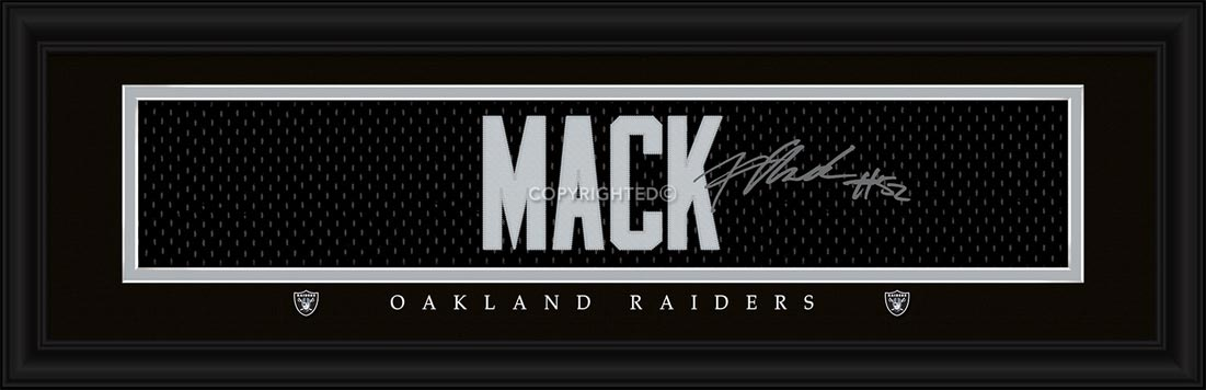 NFL - Oakland Raiders - Signature Jersey Nameplate - Khalil Mack - Framed Picture