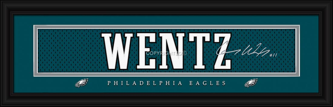 NFL - Philadelphia Eagles - Signature Jersey Nameplate - Carson Wentz - Framed Picture