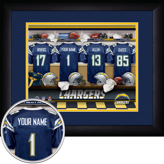 NFL - San Diego Chargers - Personalized Locker Room - Framed Picture