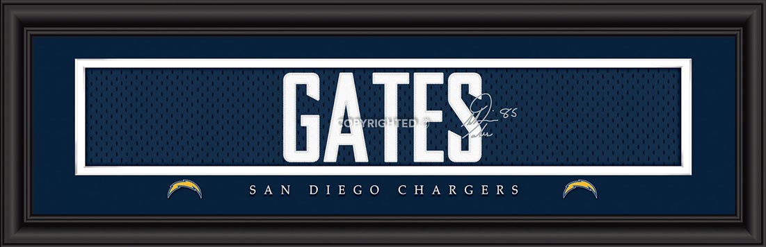 NFL - San Diego Chargers - Signature Jersey Nameplate - Antonio Gates - Framed Picture