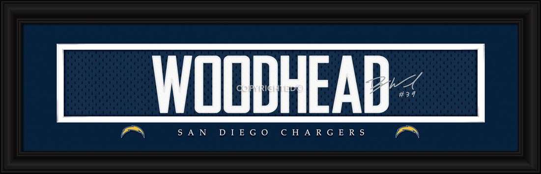 San Diego Chargers Framed Poster Print Signature Jersey