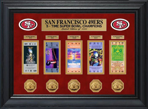 NFL - San Francisco 49ers - Super Bowl 29 XXIX - Tickets - Coins - Framed Picture