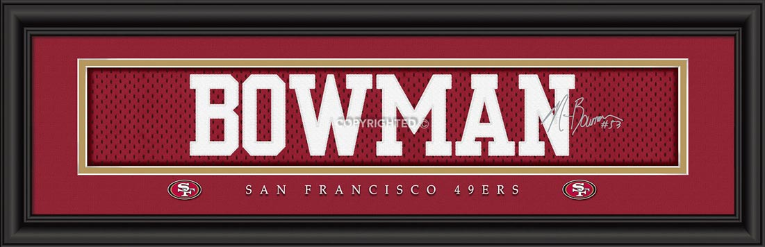 NFL - San Francisco 49ers - Signature Jersey Nameplate - NaVorro Bowman - Framed Picture