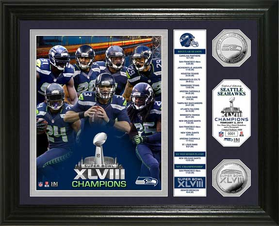 NFL - Seattle Seahawks - Super Bowl 48 XLVIII - Players - Stats - Framed Picture