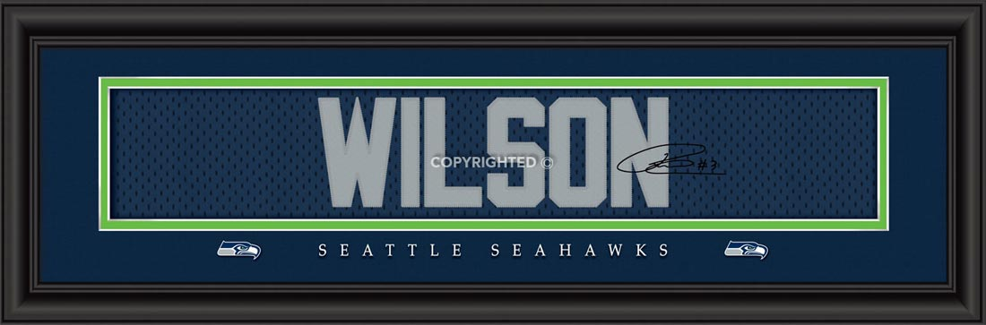 NFL - Seattle Seahawks - Signature Jersey Nameplate - Russell Wilson - Framed Picture