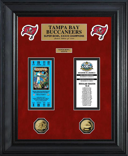 NFL - Tampa Bay Buccaneers - Super Bowl 37 XXXVII - Tickets - Coins - Framed Picture