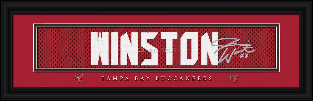 NFL - Tampa Bay Buccaneers - Signature Jersey Nameplate - Jameis Winston - Framed Picture