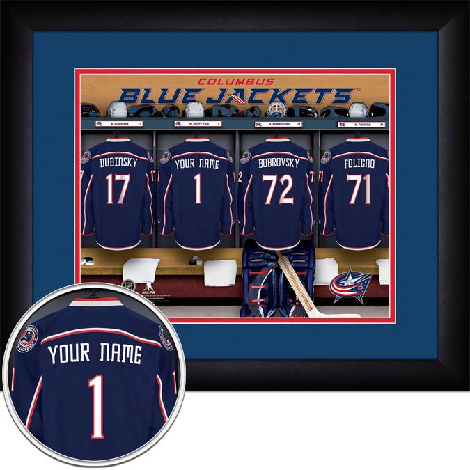 NHL - Columbus Blue Jackets - Personalized Locker Room - Framed Picture