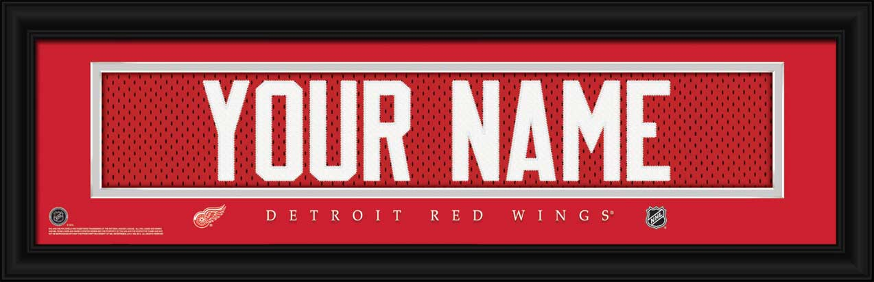 NHL - Detroit Red Wings - Personalized Jersey Nameplate - Framed Picture