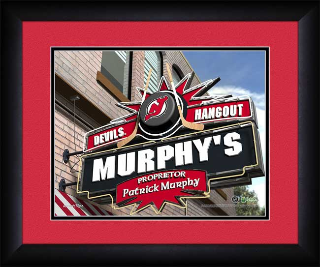 NHL - New Jersey Devils - Personalized Hangout Sign - Framed Picture