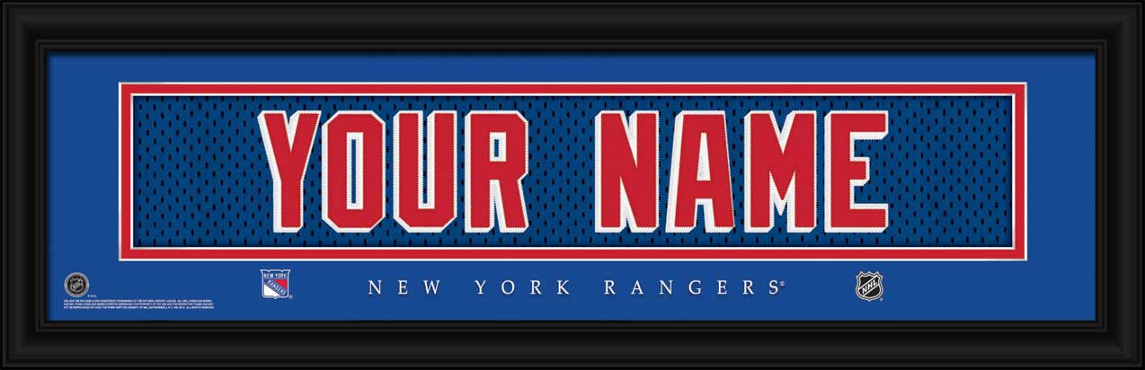 NHL - New York Rangers - Personalized Jersey Nameplate - Framed Picture