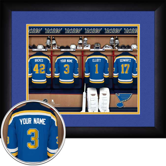 NHL - St. Louis Blues - Personalized Locker Room - Framed Picture