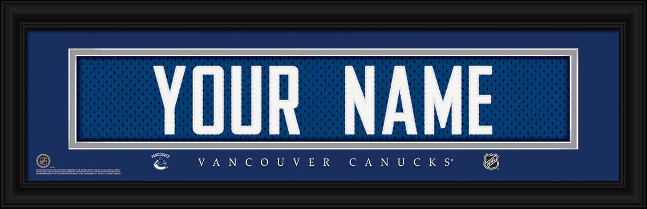 NHL - Vancouver Canucks - Personalized Jersey Nameplate - Framed Picture