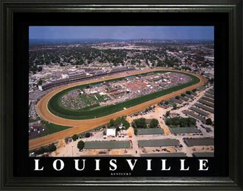 Racing - Kentucky Derby - Churchill Downs Aerial - Lg - Framed Picture