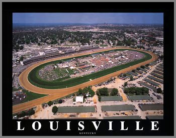 Racing - Kentucky Derby - Churchill Downs Aerial - Sm - Plaque Mounted & Laminated Print