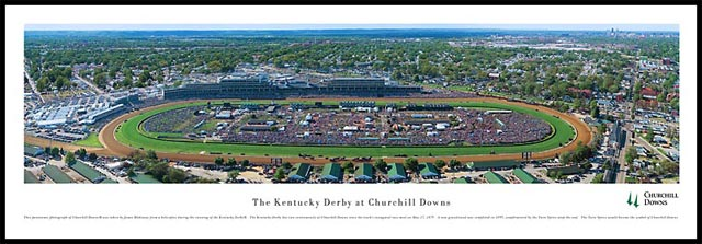 Racing - Kentucky Derby - Churchill Downs - Plaque Mounted & Laminated Print