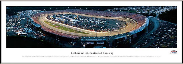 Racing - NASCAR Tracks - Richmond Intl Raceway Aerial - Night - Framed Picture