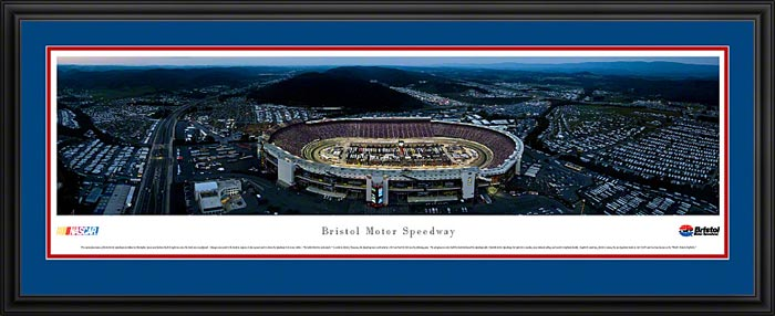 Racing - NASCAR Tracks - Bristol Motor Speedway Aerial - Night II - Framed Picture