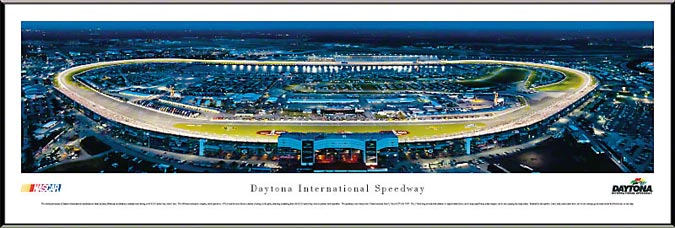 Racing - NASCAR Tracks - Daytona Intl Speedway Aerial - Night II - Framed Picture